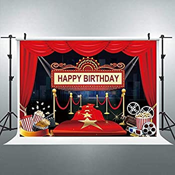 Riyidecor Movie Night Hollywood Party Backdrop Happy Birthday Film Photography Background Marquee Red Magic Carpet 7x5 Feet Decoration Celebration Props Party Photo Shoot Vinyl Cloth