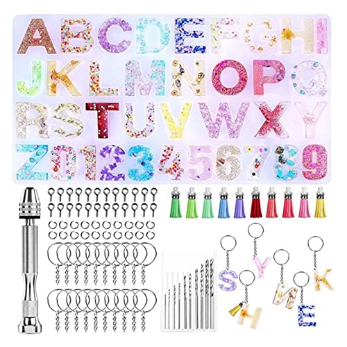 Changskj Moldes de Resina 1 Set Crystal Epoxy Resina Molde Alfabeto Carta Número Número Colgantes Casting Silicone DIY Crafts Llavero Joyería Haciendo (Color : 1)