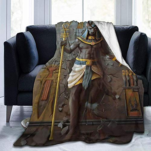 Manta Egipto Anubis Egipto Culture King ultra suave, manta de microforro polar, ligera, acogedora, cálida, duradera, manta de viaje para adultos y niños, manta de aire acondicionado de 152 x 122 cm