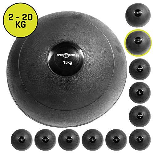Sporttrend 24 | Slamball/Medizinball 2kg - 20kg in schwarz - kein Rückprall/No Bounce - grippige Oberfäche für maximalen Halt (schwarz, 15kg)