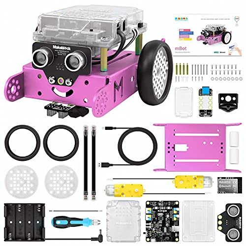 Makeblock mBot Pink Robot Kit, Robot Toys for Girls, Robotics Kit with Arduino/Scratch Coding, Remote Control, Building toys, Educational Robots for Kids Ages 8+, Girls STEM Gifts for Coding Beginners