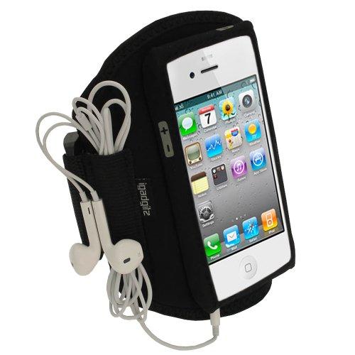 iGadgitz U1203 Neopren Oberarmtasche Sportarmband Handy Tasche Kompatibel mit Apple iPhone 5, 5S, 5C, SE (nicht SE 2020) - Schwarz