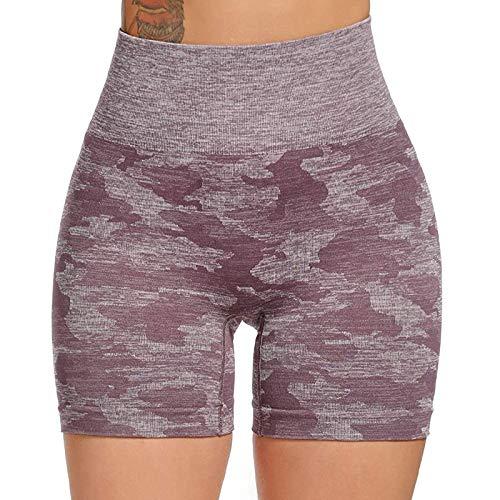 Pudyor Mujer Pantalones Cortos Deportivos Shorts de Cintura Alta de Yoga Pantalón Camuflaje Tie-Dye Leggins Fitness Mallas Transpirables Elásticos Leggings Ideal para Yoga y Pilates