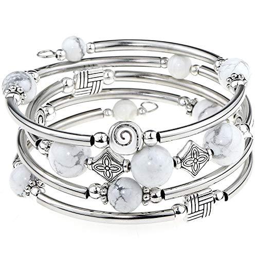 YooAi Wickelarmband Böhmische Perlen Armband Multicolor Türkis Elastische Stapelbar Anhänger Armband für Frauen (WhiteTurquoise)