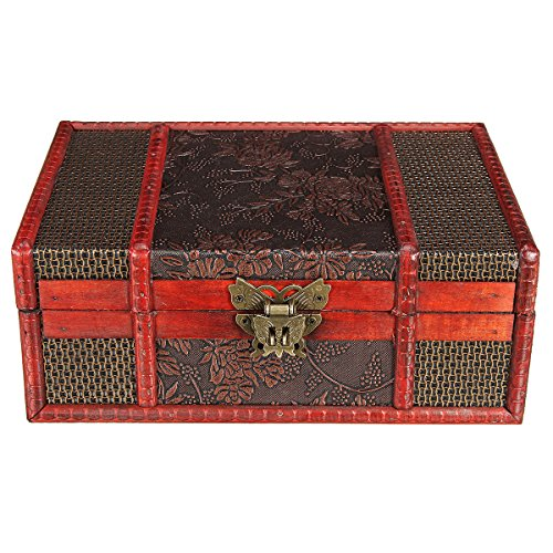 Baogu Vintage Schatzkiste Kleinmöbel mit Metallbeschlägen Holzbox Schmuckkoffer Holz mit Schloss