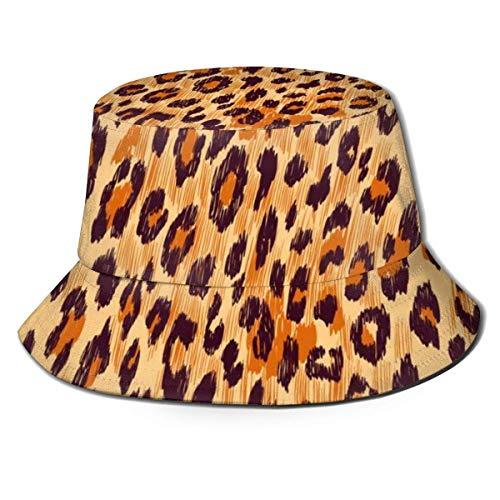 Gorras Piel de Leopardo Sombrero de Pescador Sombrero de Playa de Pescador Sombrero de Cubo para Acampar, Picnic