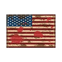 HiYash アメリカ国旗バスラグノンスリップフロア玄関屋外屋内フロントドアマット、15.7x23.6inバスマットバスルームラグ