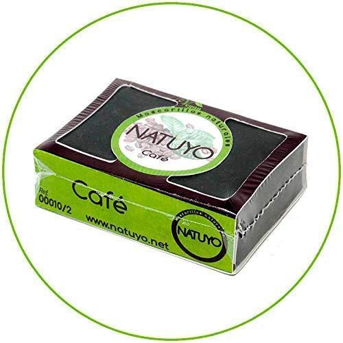 - Mascarilla de jabón NATUYO exfoliante de CAFÉ.- Estimula la circulación sanguínea, reduce ojeras o bolsas en los ojos, potente anticelulítico. Limpia la piel muerta y elimina impurezas.