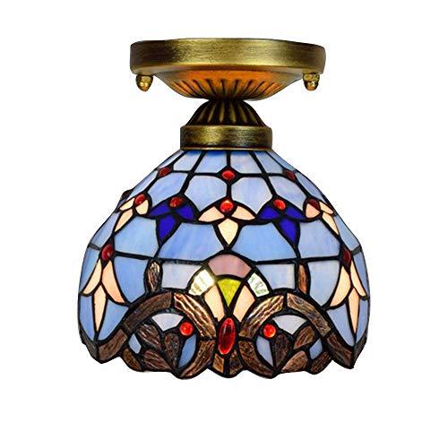 Mini Barock Kronleuchter Glasmalerei Schatten 8 Zoll Decke dekorative Beleuchtung Baldachin 40W E27...