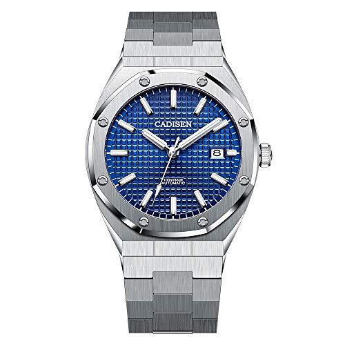CADISEN Japanisches Uhrwerk Herren Automatikuhr-Mode Edelstahlarmband-Mode Persönlichkeit Achteckige wasserdichte Uhr Herren (Blau)