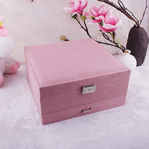 POMNEFE Caja de joyería, caja de almacenamiento de joyería de tres capas de gran capacidad, caja de joyería de almacenamiento de joyería para mujer, caja de joyería de diseño simple