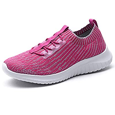TIOSEBON Women's Lightweight Casual Walking Athletic Shoes Breathable Running Slip-On Sneakers 9 US Rosy