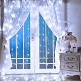 SUPERNIGHT LED Curtain Lights, Window Curtain Twinkle String Lights for Patio,Bedroom, Wedding, Party, Thanksgiving Day, Christmas Decoration (9.8 x 9.8 ft, 300LEDs, 8 Modes, Timer, Cool White)