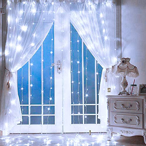 SUPERNIGHT LED Curtain Lights, Window Curtain Twinkle String Lights for Patio,Bedroom, Wedding, Party, Thanksgiving Day, Christmas Decoration (9.8 x...