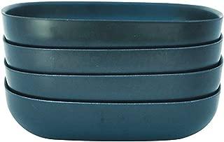 EKOBO 34086 Bamboo 24oz Pasta/Salad Bowl Set, Service for 4, BIOBU Eco-Material, Indoor/Outdoor Dining, Blue Abyss, 24 oz, Dark