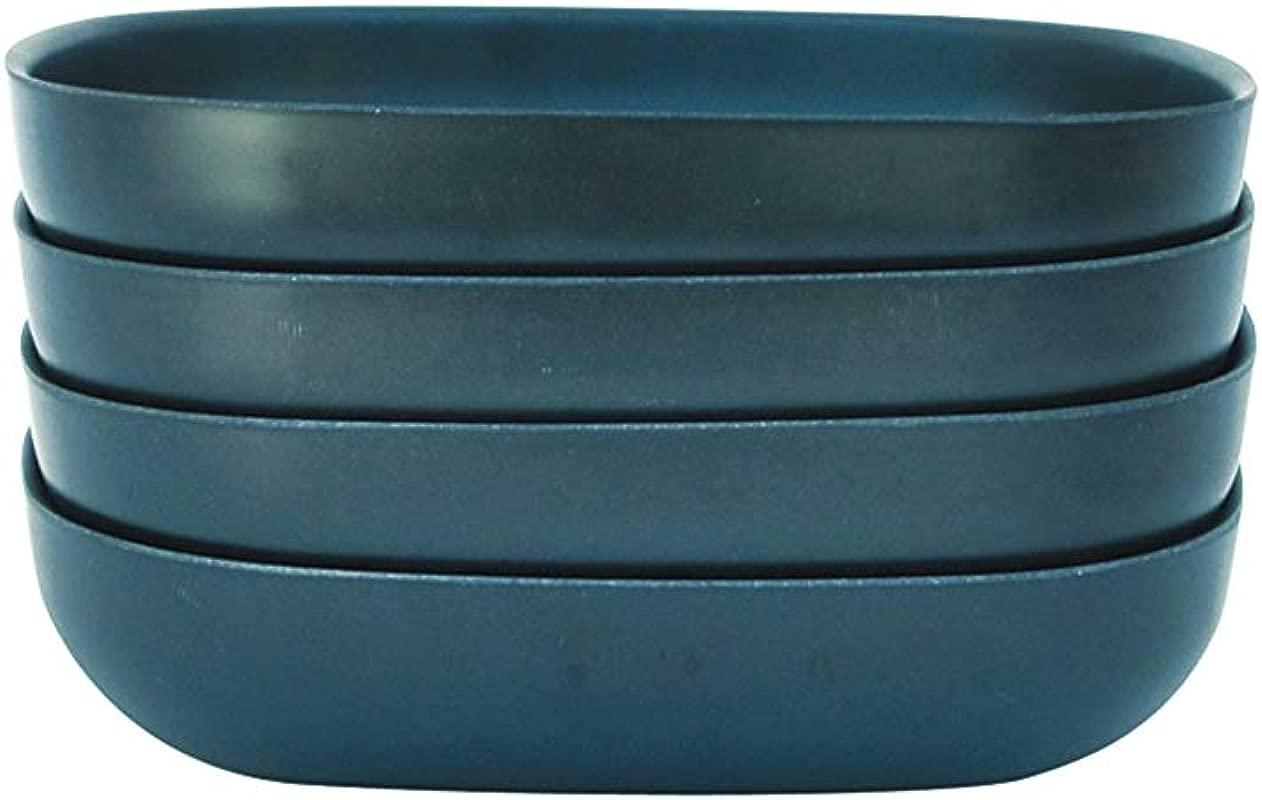 EKOBO 34086 Bamboo 24oz Pasta Salad Bowl Set Service For 4 BIOBU Eco Material Indoor Outdoor Dining Blue Abyss 24 Oz Dark