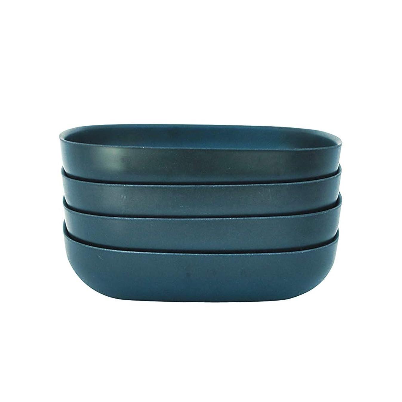 EKOBO  Bamboo 24oz Pasta/Salad Bowl Set, Service for 4, BIOBU Eco-material, Indoor/Outdoor dining, Dark Blue (Abyss)