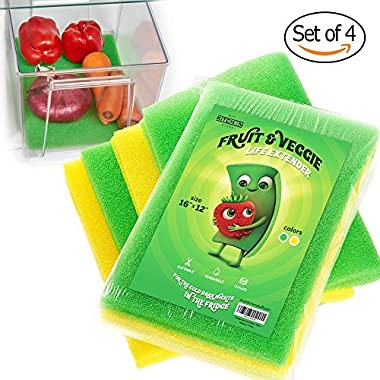 4-Set Fruit & Veggie Life Extender - 16x12 Inch - Foam Fridge Shelf Mat & Refrigerator Drawers Liner - Washable Anti-mold Pads - Extends Life of Produce & Prevents Spoilage - Keeps Food Fresh & Crispy