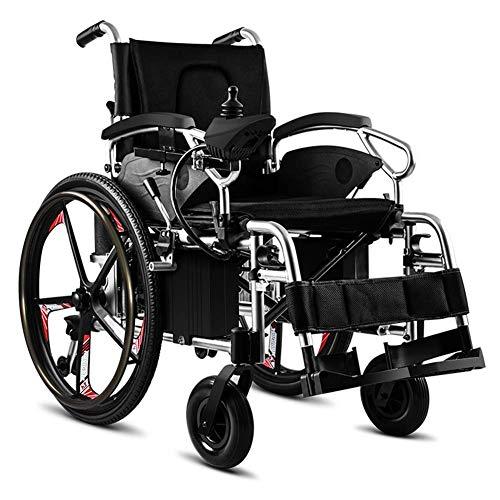 RDJM Carrozzina ELETTRICA - Sedia A Rotelle Pieghevole Ad Autospinta per Disabili Portatori Handicap E Anziani Facile da Trasportare