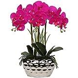 Orchidea artificiale da 43,2 cm, con vaso in ceramica argentata, centrotavola per centrotavola, soggiorno, decorazione per la casa