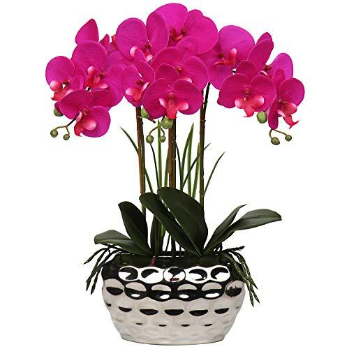 Orquídea artificial Phalaenopsis de 43 cm, flores decorativas de orquídea...