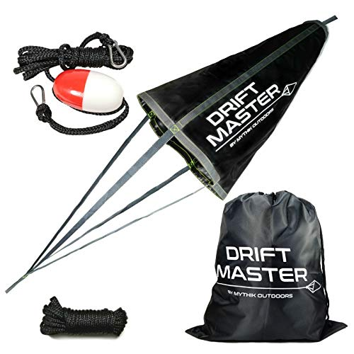 Mythik Lures & Outdoors - Complete Drift Sock KIT: Drift and Trolling Sock Bag (33-inch) + Floating Anchor Harness + Free Collapsing Cord - for Your Boat, Kayak or Canoe. Use On Lake River or Ocean