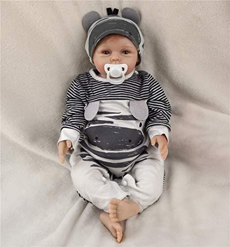 ZIYIUI Realistische Puppe Reborn Babypuppe Junge Silikon Handgemachte Reborn Babys Magnetismus Spielzeug Geschenke 55cm