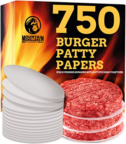 Mountain Grillers Hamburger Patty Paper - Wax Papers to Separate Frozen Pressed Patties - 750 Burger Sheets for Easy Release from Press - Perfect for BBQ