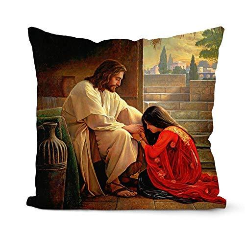 LPLH Funda de Almohada para el Nuevo día, Funda de Almohada con cojín de Jesús, Almohada de Piel de melocotón, artículos para el hogar Cristiano, 45X45CM, Funda de Almohada, veintitrés