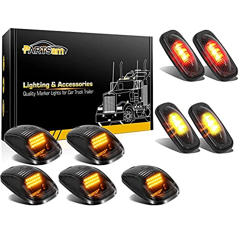 Partsam Smoke Set 5PCs Cab Top Roof Running Marker Light Amber w Wiring Pack + 4Pcs LED Side Fender Marker Lights Replacement for Dodge Ram 2003-2009 and Ram 2011-2017 Pickup Trucks Dually Bed