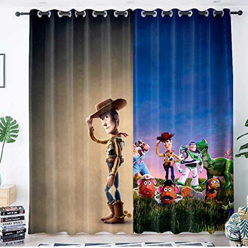 yug Curtains Shading And Noise-Proofing Bedroom Children'S Room Floor-To-Ceiling Windows Bay Window Decoration Cartoon Animation Toy Story