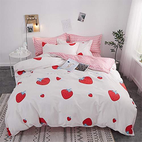 Jiaosa dekbedovertrek, 100% katoen, minimalistische set 4 (3) aardbeirood, bedlaken kussensloop, 8 maten, 160 x 210 cm, B1-rood