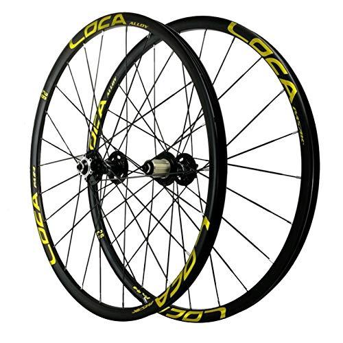 Ciclismo Wheels,Llanta de Bicicleta Montaña de Dos Pisos 26/27,5'' Aleación de Aluminio 24 Hoyos Liberación Rápida 8/9/10/11/12 Velocidad (Color : Yellow, Size : 26IN)