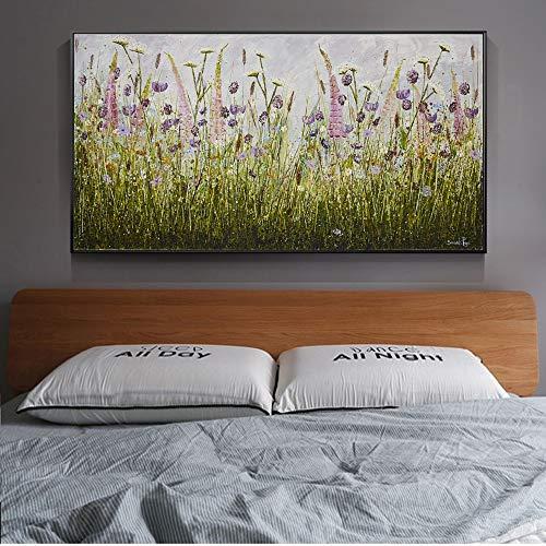 Nordic abstrakte Blumen-Wand-Kunst Leinwand Grünpflanze Poster und Drucke Moderne Leinwand-Gemälde for Bett-Raum-Wand Hübscher Kreuzstich (Color : No Frame, Size (Inch) : 70x140cm no Frame)