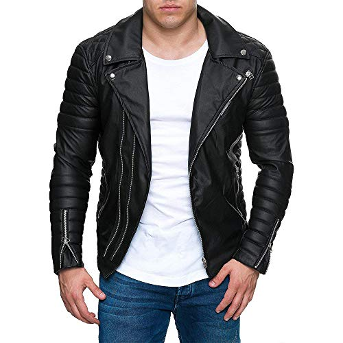 NEARTIME Men's Leather Jacket Fashion Lapel Pleated Locomotive Coat Splicing Zipper Stand Collar Imitation Cardigan Tops
