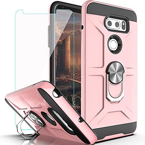 LG V35 ThinQ V30 Hülle, Plus/LG V30S ThinQ/LG Schutzhülle mit HD Bildschirmschutzfolie, YmhxcY 360° drehbarer Ring, Kickstand Halterung, Dual Schichten, stoßfeste Handyhülle für V30-ZS, ZS-Rose Gold