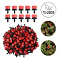 Originalidad 150pcs 1/4 Inch Adjustable Micro Drip Irrigation Dripper, Watering Drippers Sprinklers for Emitter Drip System