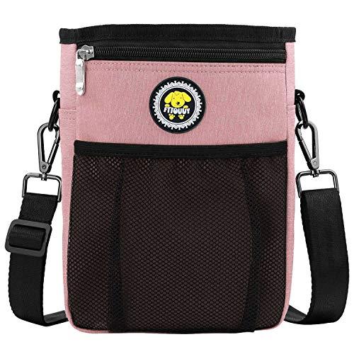Fttouuy Futterbeutel Hunde wasserdicht Futtertasche für Hundetraining – inklusive Karabiner(Rosa)