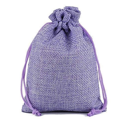10 piezas moda boda favor Navidad arpillera arpillera yute bolsas de regalo bolsa con cordón-Púrpura_Los 7x9cm