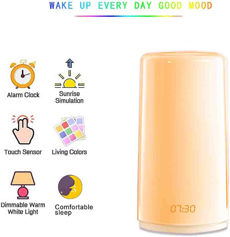 JIAWEI LED-Nachtlicht, USB-Touch-Schreibtischlampe 6 Arten Natürlicher Klingeltne RGB-VollfarbkonGrünierung Mit Uhr - 3 Watt,100  180mm