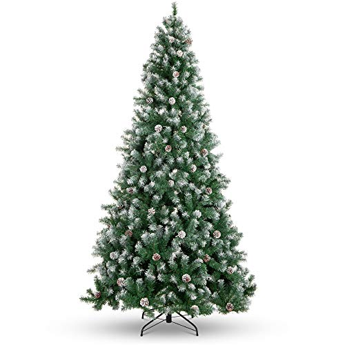 Best Choice Products 9ft Pre-Decorated Holiday Christmas Tree for Home, Office, Party Decoration w/ 2,028 PVC Branch Tips, Partially Flocked Design, Pine Cones, Metal Hinges & Base - Green/White