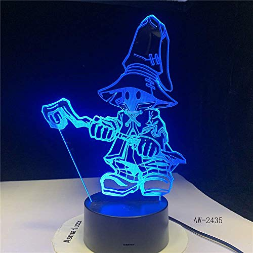 ZJBD YUMEI 3D Illusion Lamp, Cartoon Table Lamp Ghost Night Light Led Bulb Home Bar Decoration New Year Birthday Present Gifts-Touch (Color : Touch+Remote)