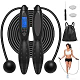 Jump Rope, Digital Smart Fitness Sport Skipping Ropes with Sound Reminder, Backlit Screen, Weight...