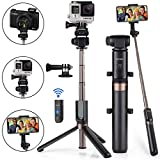 Selfie Stick Tripod Bluetooth Upgraded, Phone & Camera Tripod Selfie Stick with Wireless Remote Shutter for Gopro,Action Cameras, iPhone Xs MAX/XR/XS/X/Galaxy S9 Plus and More