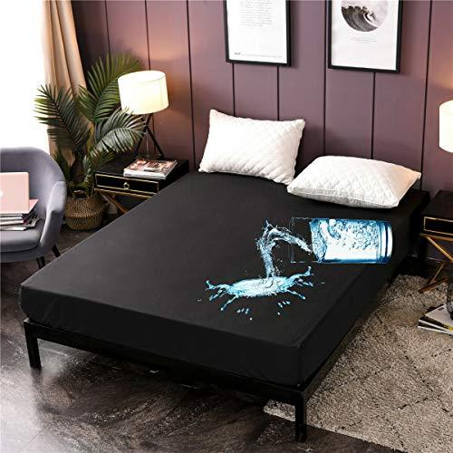 "Holawakaka Queen Waterproof Mattress Encasement Protector Black Fitted Sheet Breathable Bed Mattress Pad Cover, 14"" Deep Pocket (Black, Queen)"