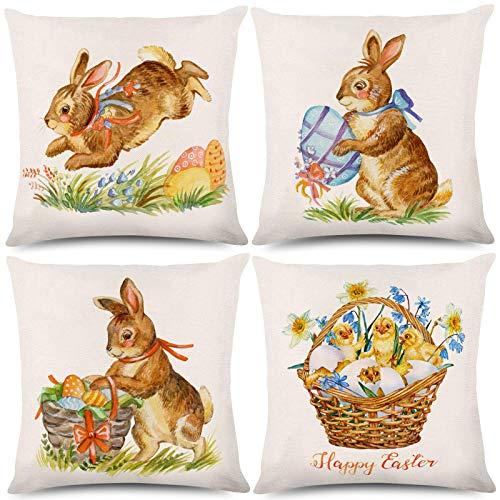 Funda de cojín de Pascua con diseño de conejo, de Pascua, de Pascua, con diseño de pollito, 45,7 x 45,7 cm, 4 piezas