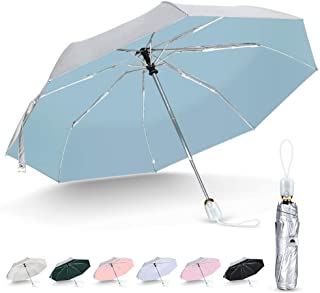 シルバーコーティング ひんやり傘 日傘 uvカット 100 遮光 折りたたみ ワンタッチ 自動開閉 8本骨 軽量 晴雨兼用 遮熱 耐風撥水 軽量 紫外線遮断 レディース 折りたたみ傘 折り畳み傘 おすすめ日傘 (シルバー/ブルー)