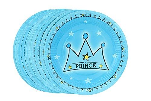 FiveSeasonStuff 18.5cm (7.3'') Piatti per Compleanno Festa di Carta, Piatti / Piastra per Dessert Torte (Stile No.5 Principe, 12pcs)