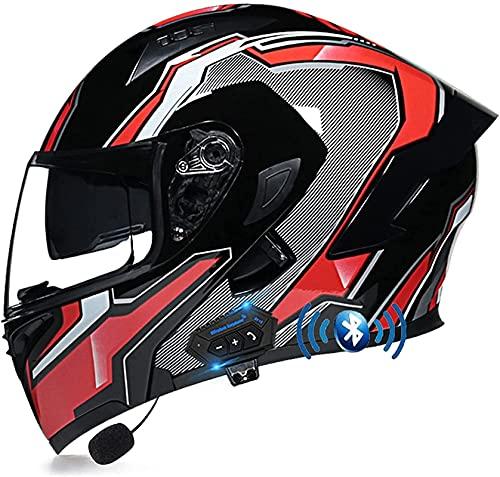 Modular Casco Moto Bluetooth ECE Homologado Casco de Moto Integral para Mujer Hombre Adultos con Anti Niebla Doble Visera Casco Integrado con 500mA Auriculares Bluetooth (Color : 6, Size : S)