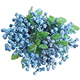 UUPP 6 Pcs Plastic Artificial Blueberries Fake Blue Berries Plant Blueberry Artificial Flowers for Home Wedding Office Party Decor, 9.1 Inches
